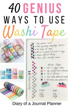 Looking for fun bullet journal page ideas and creative ways to use washi tape? We've compiled a list of 40 of the best ways to use washi tape in your bullet journal! Bullet Journal Washi Tape, Bullet Journal Hacks, Bullet Journal Layout, Bullet Journal Inspiration, Bullet Journals, Diy Washi Tape Crafts, Washi Tape Uses, Duck Tape Crafts, Duct Tape