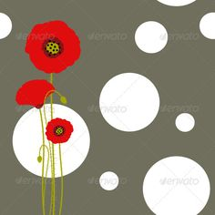 Red Poppy on Brown Background