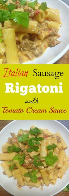Italian Sausage Rigatoni with Tomato Cream Sauce is a weeknight comfort food favorite. This quick skillet dinner has a flavorful sauce that pairs well with the pasta.