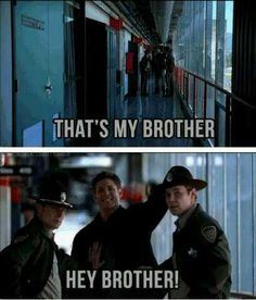 "I thought this was adorable the first time I saw it. Still do, but rewatching this episode recently I realized Dean wasn't with Sam when this happened, so Dean couldn't be certain what name Sam had given the cops. So by shouting ""brother"" he was saving them from a lot of explaining if he shouted the ""wrong"" name."