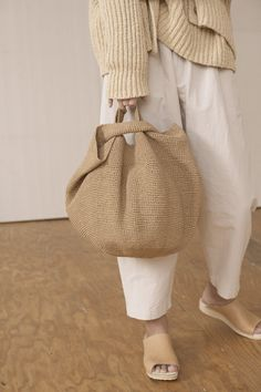 Lauren Manoogian crochet bowl bag-natural sold out Woven knitted shopping bag and chunky wooden bangle in beige cream. Shop the latest Lauren Manoogian coats, sweaters & more. Same day shipping on Lauren Manoogian. Bucket style bag, with a round base andY Crochet Bowl, Hat Crochet, Japanese Knot Bag, Paper Bowls, Macrame Bag, Crochet Handbags, Knitted Bags, Large Bags, Fashion Bags