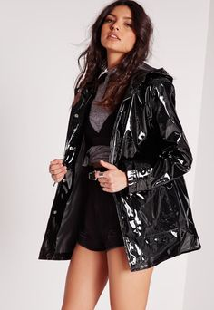Pin for Later: Get Ready For April Showers and Festival Season With the Best Waterproof Jackets Missguided High Shine Rain Mac Missguided High Shine Rain Mac Black Rain Jacket, North Face Rain Jacket, Rain Jacket Women, Black Raincoat, Raincoat Outfit, Hooded Raincoat, Clear Raincoat, Long Raincoat, Tumblr Outfits