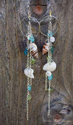 Sea Shell Dangle Earrings, Sea glass chips, Ocean theme, Hawaiian sea shell Earrings, Beach Earrings,mixed shell earrings, silver plate. $15.00, via Etsy.