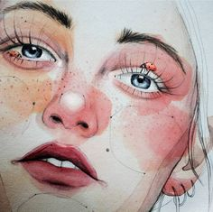 Find images and videos about girl, art and draw on We Heart It - the app to get lost in what you love. Watercolor Portraits, Watercolor Art, Wallpaper Wall, Guache, A Level Art, Alphonse Mucha, Art Graphique, Pretty Art, Love Art