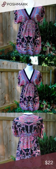 Angie Boutique Bohemian Paisley Flowy Blouse Fits true to size.  In good used condition, this top has a lot of life left.  Great for festivals! Angie Tops Blouses
