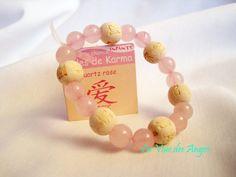 13 perles en pierre minérales naturelles 6 perles de Karma bois. Ne convient pas à un enfant de moins de 6 ans.  Longueur : 7,8 cm environ.