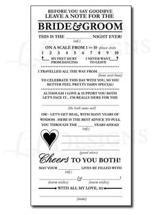 Madlib wedding advice card for guests would be so fun to read wedding guest questionnaire mad libs junglespirit Images