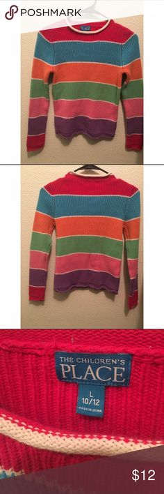 Children's Place Sweater🌈 •Cute & comfy sweater. Warm little top! 10/12 •Condition: gently worn! Very mild pilling as shown. SALE is FINAL  •Please feel free to make offers! ✅  •NO ❌🅿️🅿️or Ⓜ️erc❌ •I am able to model (almost all of) items I have posted! If I haven't already- just ask 😊  •Measurements & more pictures available upon request!  •FREE GIFT INCLUDED!!! 🎁 Children's Place Shirts & Tops Sweaters