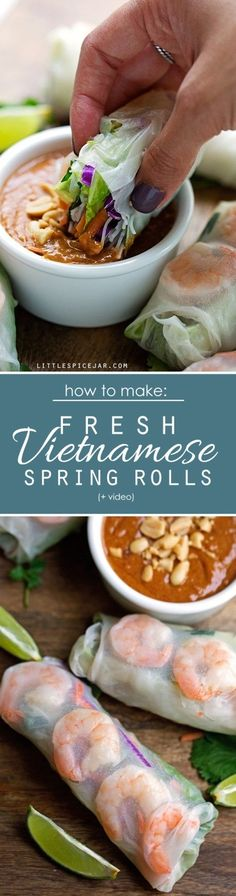 Vietnamese Fresh Spring Rolls - homemade spring rolls made easy! Watch the video and learn how to make these quickly and easily at home! #springrolls #freshspringrolls #summerrolls #vietnamesespringrolls | Littlespicejar.com