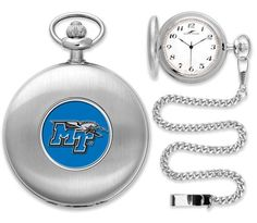 New - Mens Middle Tenn. State Blue Raiders-Pocket Watch - Silver