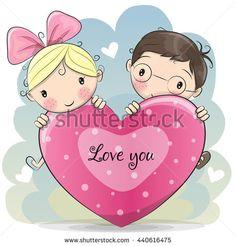 Cute Cartoon Boy and girl with heart