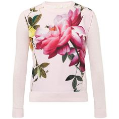 Ted Baker Dalhii Citrus Bloom Woven Sweater ($140) ❤ liked on Polyvore featuring tops, sweaters, long sleeve tops, pink floral sweater, floral print tops, floral tops and round neck sweater