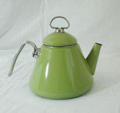 Vintage Chantal Olive Green Tea Kettle