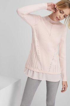 Bi-material pulóver