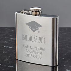 Ballagásra, diplomaosztóra csak is egyedi ajándék dukál. Lepje meg barátját, osztálytársát vagy gyermekét egyedi homokfúvott flaskával, mely praktikus és örök emlék lehet mindenki számára. A flaska rozsdamentes acélból készült, melynek űrtartalma 210ml. Flask, Barware, Diy, Bricolage, Do It Yourself, Homemade, Diys, Crafting, Tumbler