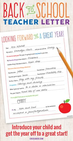 FREE PRINTABLE Back-to-School Letter to the Teacher
