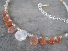 Sunstone & Moonstone Necklace Sun and Moon by Abundantearthworks, $58.00