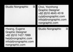 Name card design for Studio Nongraphic Name card, 85 x 55 mm Studio Nongraphic Minimal Graphic Design, Graphic Design Layouts, Graphic Design Inspiration, Layout Design, Print Design, Letterhead Design, Stationery Design, Business Cards Layout, Business Card Design