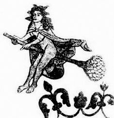Medieval drawing of a witch flying with an herbal aid.
