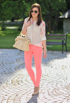 Nude heels, Neon Pink skinnies, White/Pink floral chiffon blouse, Nude handbag, Silver watch & bracelet, Black aviator sunnies |  The Spring Hottest Trend – PASTELS!