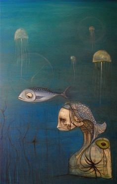 Fish Head - By Andy Warde. (Oil on canvas)