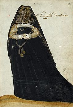 "ca. 1595, ""Album Amicorum of a German Soldier"", [woman in mourning], Italian via the LACMA, Costume and Textiles Departm..."