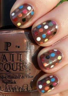 Polka dots in muted tones for Fall...#nailart