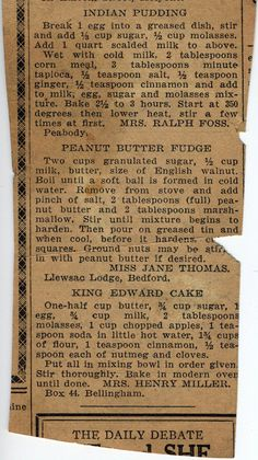 Bygone Food and Recipes: Indian Pudding...