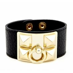 Love this! Black and Gold Leather Stud Bracelet Sole Society - LEATHER PYRAMID STUD BRACELET