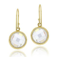 18K Gold Over Sterling Silver 5ct CZ Circle Brushed Drop Dangle Earrings SilverSpeck.com. $24.99