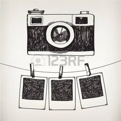 Vector hand drawn doodle illustration of retro photo frame and camera. Hanging photos in a photo studio. - Vector hand drawn doodle illustration of retro photo frame and camera hanging photos in af - Camera Sketches, Camera Drawing, Art Drawings Sketches, Doodle Drawings, Easy Drawings, Doodle Illustrations, Camera Painting, Tumblr Drawings, Camera Art