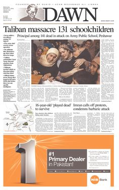 Today's Front Pages | Newseum - Dawn (Pakistan) on Peshawar attack