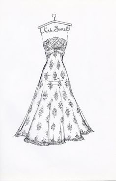 Custom Wedding Dress Sketch by DrawtheDress on Etsy, $50.00.  Wedding shower present