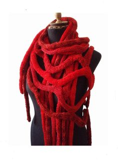 COBWEBS  hand knitting shawl scarf poncho  in red  door laslopezlas, $128.00