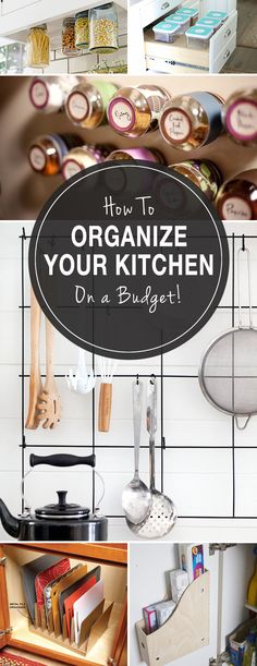 How to Organize Your Kitchen (On a Budget!) • We have a lot of great ideas and tips and even some diy projects with tutorials on kitchen organizing! Some of our favorite home organizing ideas! #kitchenorganizing #budgetorganizing #DIYkitchenorganizingprojects #organizeyourkitchen #howtoorganizeakitchen #homeorganizingideas