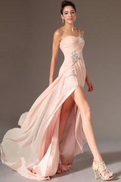 2014 One Shoulder Beaded Straps Pleated Bodice Prom Dress With A High Slit USD 129.99 LDPF5K8PGK - LovingDresses.com