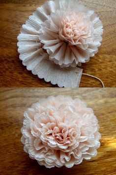 "a-ladys-findings: "" DIY: Crepe Paper Flower "" Flower Tutorials Directory - Click through to view 30 Fabulous Paper and Fabric Flowers To Make Immediately!DIY Crepe Paper Flower - lovely crafting inspiration for gift packaging & decorMaybe this on Diy Paper, Paper Crafting, Paper Art, Crepe Paper Crafts, Crepe Paper Decorations, Streamer Decorations, Origami Decoration, Hair Decorations, Cardboard Crafts"