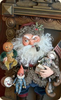 one of scott smith's brilliantly sculpted figures. he is truely one of my most favorites: Father Christmas, Christmas Art, Vintage Christmas, Ooak Dolls, Art Dolls, Primitive Santa, Santa Doll, Santa Claus Is Coming To Town, Polymer Clay Dolls