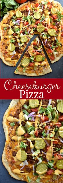 Loaded Cheeseburger Pizza tastes just like a cheeseburger and is loaded with cheddar cheese ground beef pickles tomato red onion lettuce and a special drizzled on sauce for a super fun meal that the family will love! Pizza Hamburger, Pizza Cheeseburger, Homemade Hamburger Pizza Recipe, Cheddar Pizza Recipe, Beef Pizza, Chicken Pizza, Pizza Cool, Pizza Pizza, Pizza Dough