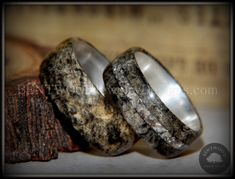 """Bentwood Rings Set - """"Ohio"""" Buckeye Burl on Silver Core Classic and Glass Inlay - Bentwood Jewelry Designs - Custom Handcrafted Bentwood Wood Rings  - 3"""