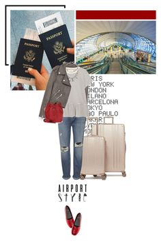 """""""Jet Set: Airport Style"""" by beingaries ❤ liked on Polyvore featuring ADZif, CalPak, Jakke, Whistles, The Great, Marc Jacobs, Yves Saint Laurent and airportstyle"""