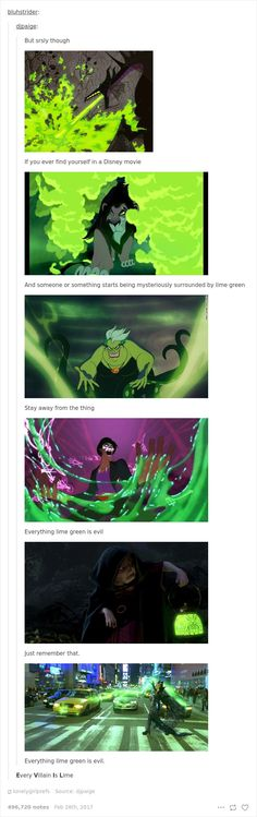 funny posts abouts disney 9 <<< EVEN THE AVADA KEDAVRA IS A GREEN LIGHTNING STAY AWAY FROM LIME GREEN