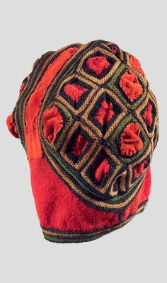 Africa | Hat from the Bamileke people of Cameroon | Embroidered cotton, with visible restoration. African Hats, Knit Hats, Historical Costume, West Africa, Tribal Jewelry, Tribal Art, Headgear, Headdress, Masks