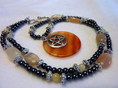Red Agate Pentacle Hematite Aragonite  Moonstone by FaerieNotions, $40.00