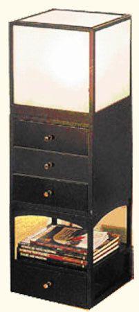 Three Piece Set Black Sono Modular Asian Floor Lamp with 4 Drawer Cabinet Light Box and Shelf Unit Asian Floor Lamps, Asian Lamps, Cabinets Online, Oriental Design, Cabinet Lighting, Drawers, Shelves, Flooring, Room