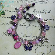 Pinkki-lila kesäkilinä tilaustyönä <3 #customwork #bling #pink #amuletti #glitter