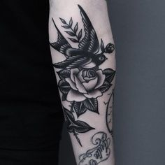 Swallow and rose by Dope Tattoos, Black Ink Tattoos, Badass Tattoos, Pretty Tattoos, Forearm Tattoos, Unique Tattoos, Beautiful Tattoos, Body Art Tattoos, Small Tattoos