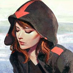 Hood by Kuvshinov-Ilya, digital painting, hooded woman character, illustration, concept, character design, red hair, inspirational art