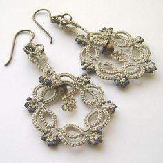 """""""Binary"""" tatted earrings by yarnplayer, via Flickr"""