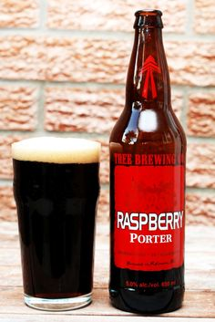 Tree Brewing Raspberry Porter: Thick, frothy, hit of bitter chocolate at first which turns to something reminiscent of dark cherry or raspberry chocolate cake. Aroma has black currant, ripe raspberry.